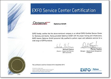 EXFO service center certification 2018-2019
